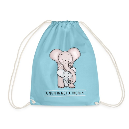 Elephant Baby with Mom - Drawstring Bag