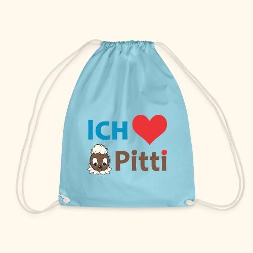 Pittiplatsch Ich liebe Pitti auf hell (blau/braun - Turnbeutel