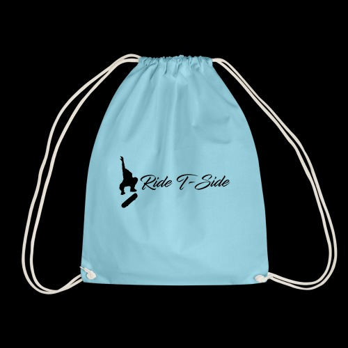 Ride T-Side - Skate Logo and Text - Black - Drawstring Bag