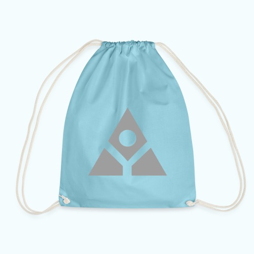 Sacred geometry gray pyramid circle in balance - Drawstring Bag