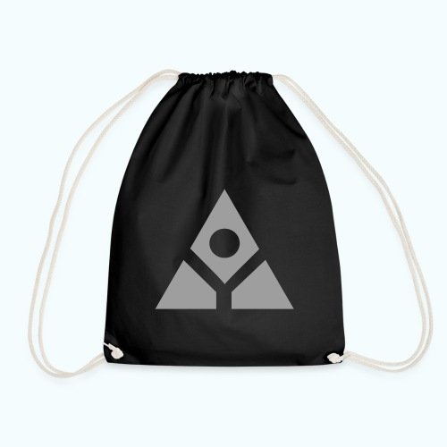 Sacred geometry gray pyramid circle in balance - Drawstring Bag