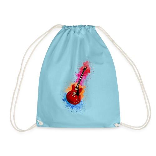 Cool Watercolour Splash Rock Guitar - Drawstring Bag