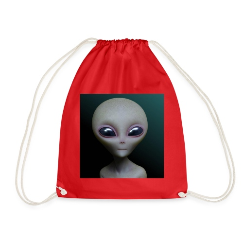 small grey alien - Drawstring Bag