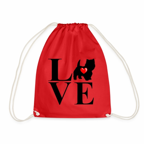westie love design - Drawstring Bag