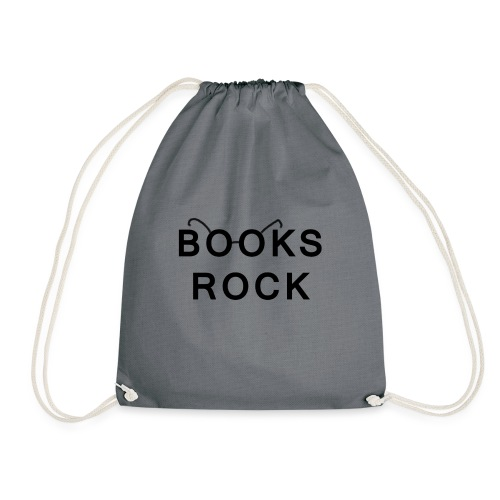 Books Rock Black - Drawstring Bag