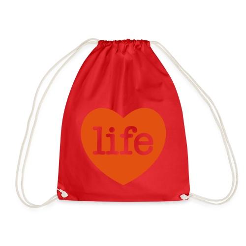 LOVE LIFE heart - Drawstring Bag