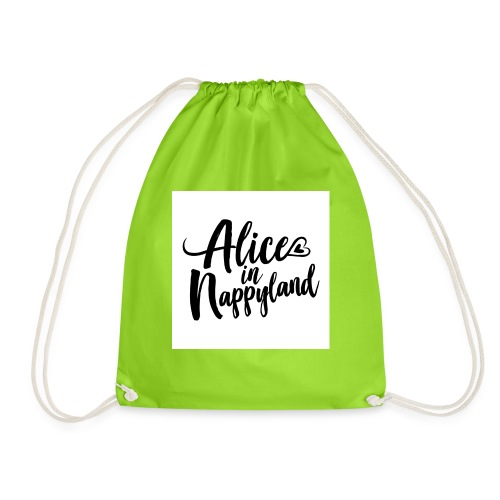 Alice in Nappyland Typography Black 1080 1 - Drawstring Bag