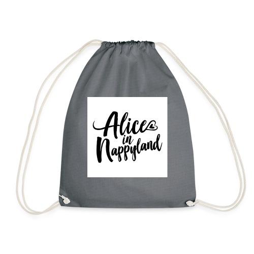 Alice in Nappyland Typography Black 1080 1 - Drawstring Bag