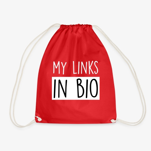 my links in bio white - Drawstring Bag