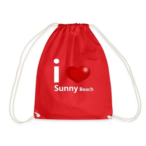 I love Sunny Beach 2 (white print) - Drawstring Bag