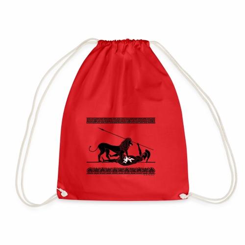 Hoplit und Löwe (schwarz auf rot) - Turnbeutel