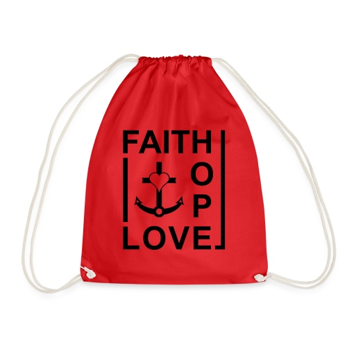 Faith, Love, Hope, mit Herz transparent - Turnbeutel