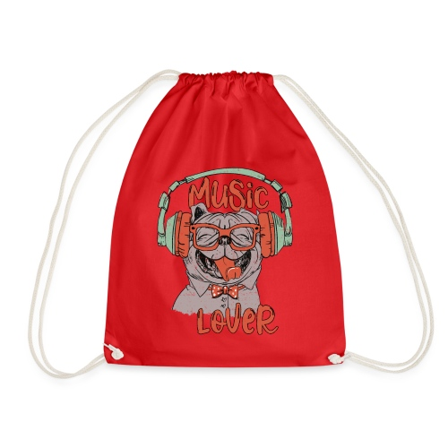 Music Lover - Happy Pug Dog Head Vintage style - Drawstring Bag