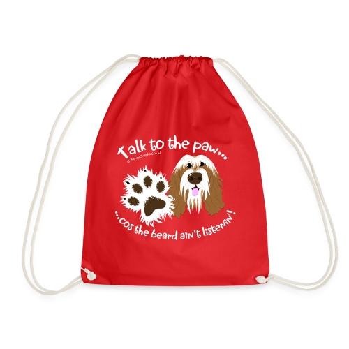 Talk to the paw brown beardie - Drawstring Bag