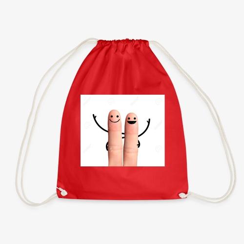 27876444 Happy fingers hug on white background Sto - Drawstring Bag