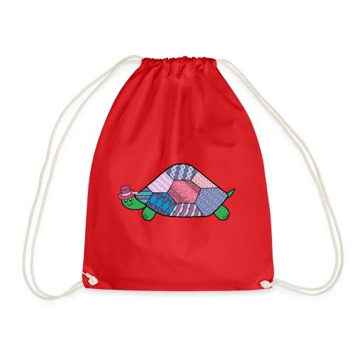 purple tortoise - Drawstring Bag