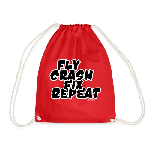 FlyCrashFixRepeat signed - Drawstring Bag