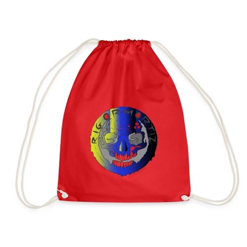 Rigormortiz Metallic Yellow Blue Design - Drawstring Bag