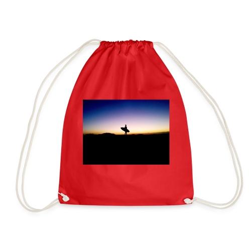 Surfer Sunset Silhouette - Drawstring Bag
