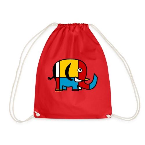 Mondrian Elephant - Drawstring Bag