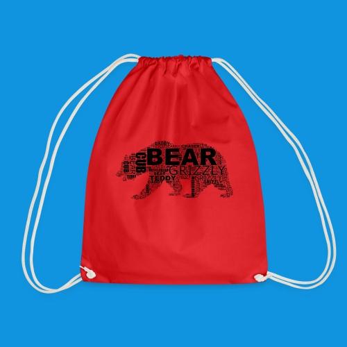 Bear Word Cloud black text - Drawstring Bag
