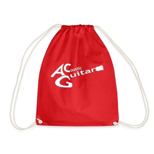 Acoustic Guitar Logo - White - Drawstring Bag