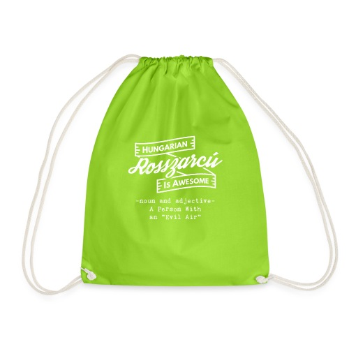 Rosszarcú - Hungarian is Awesome (white fonts) - Drawstring Bag