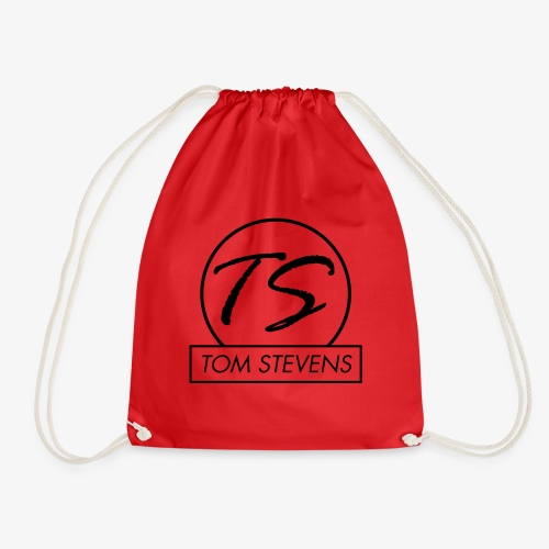Tom Stevens Logo BLACK - Drawstring Bag