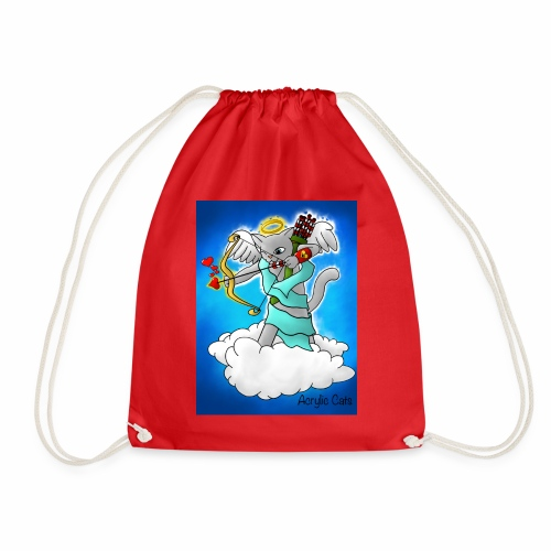 Valentine's Day Smokey Grey Cupid Cat - Drawstring Bag