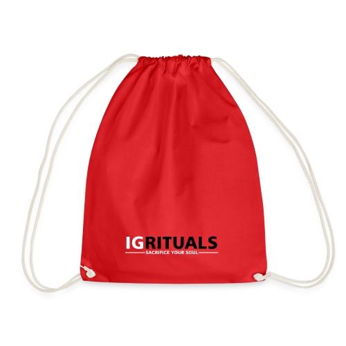 ig rituals text black and white - Drawstring Bag