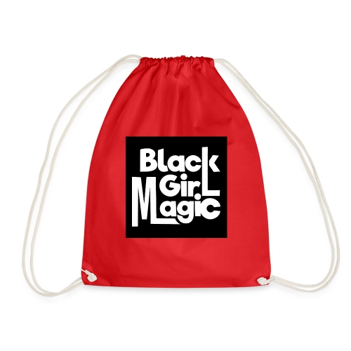 Black Girl Magic 2 White Text - Drawstring Bag