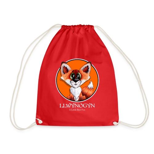 llwynogyn - a little red fox (white) - Drawstring Bag
