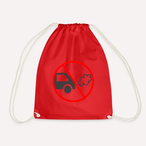 No Car Pollution climate caring print design - Drawstring Bag