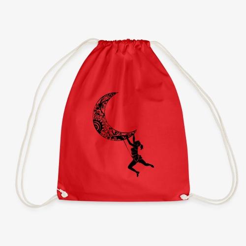 Climbing Woman Girl moon - Climber on the moon - Drawstring Bag