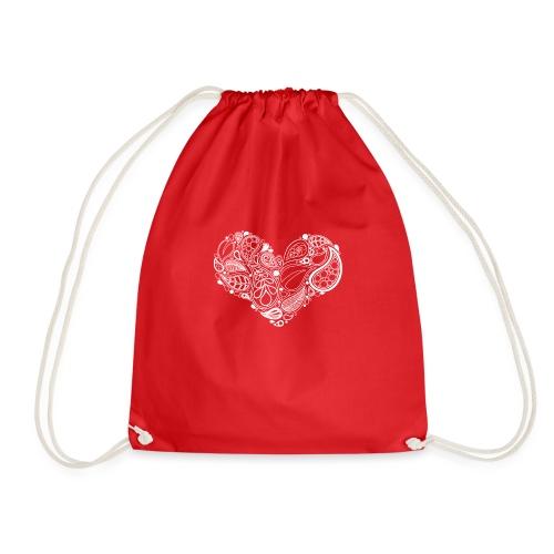 White Leaf Heart Mandala - Drawstring Bag
