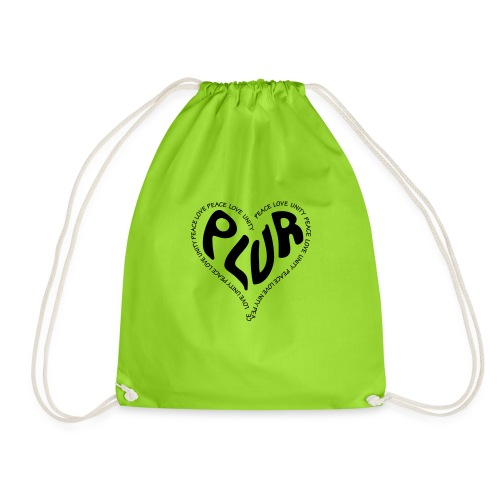 PLUR Peace Love Unity & Respect ravers mantra in a - Drawstring Bag