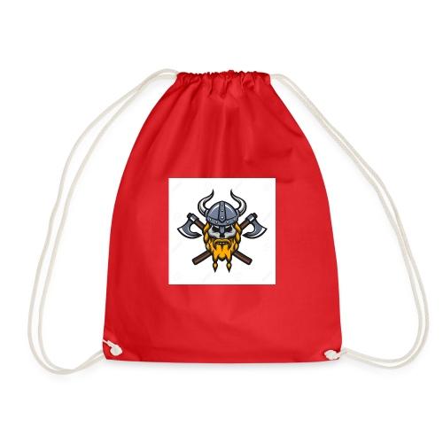 Viking Warrior Skull and Axes badge logo - Drawstring Bag