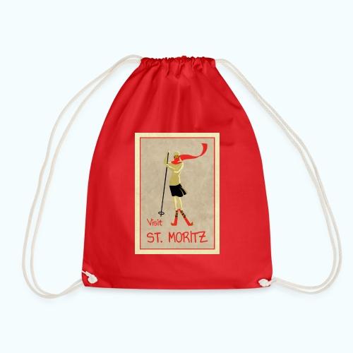 Vintage Retro Reise Plakat St Moritz - Drawstring Bag