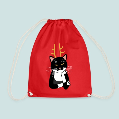 Sarcastic Christmas Cat - Drawstring Bag