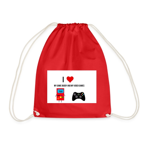i love my game buddy and my video games - Drawstring Bag