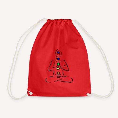 Illustrated Chakras Spirituel Yoga Print Design - Drawstring Bag
