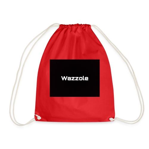 Wazzole plain blk back - Drawstring Bag