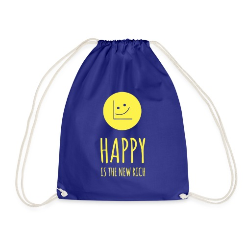 Happy is the new rich - Drawstring Bag