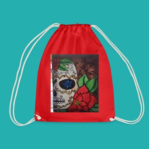flower-skull - Drawstring Bag
