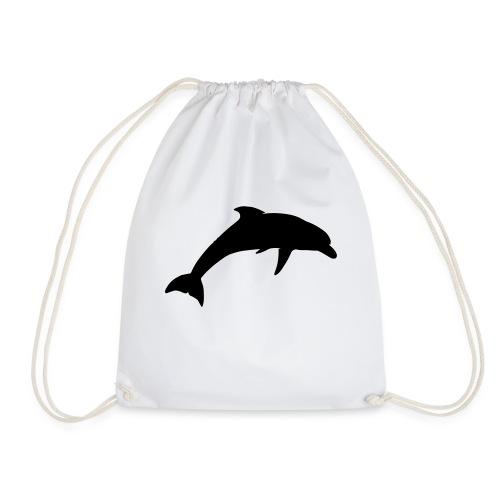 dolphin silhouette - Drawstring Bag