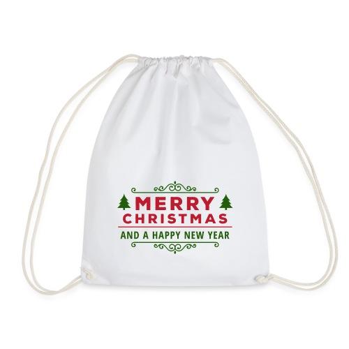 merry christmas, christmas present, christmas tree - Drawstring Bag