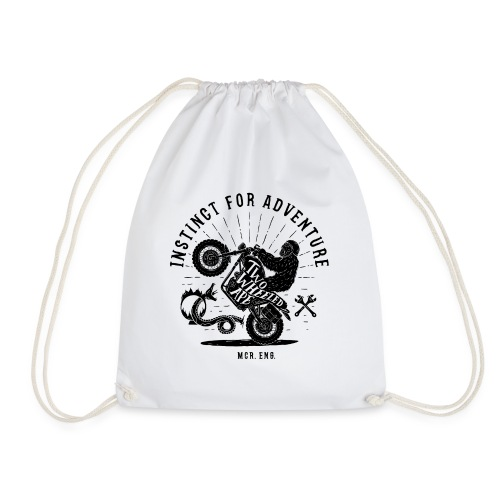 Two Wheeled Ape Wheelie Biker T shirt - Drawstring Bag