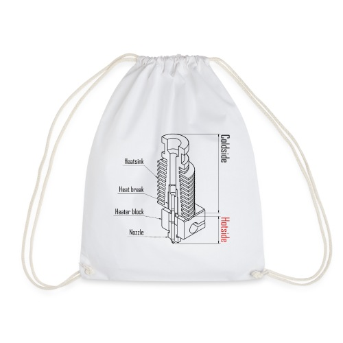 Hotend anatomy (no text). - Drawstring Bag