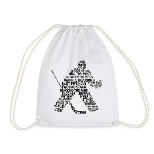 Goalie Lingo - Grunge Text Version (black print) - Drawstring Bag