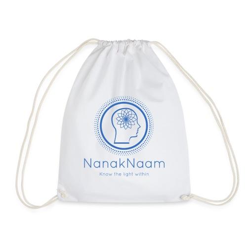 Nanak Naam Logo and Name - Blue - Drawstring Bag